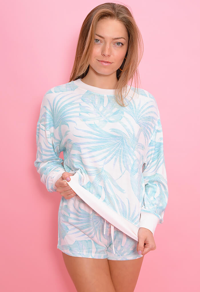 Z Supply Elle Palm Long Sleeve Top-Pink Mist