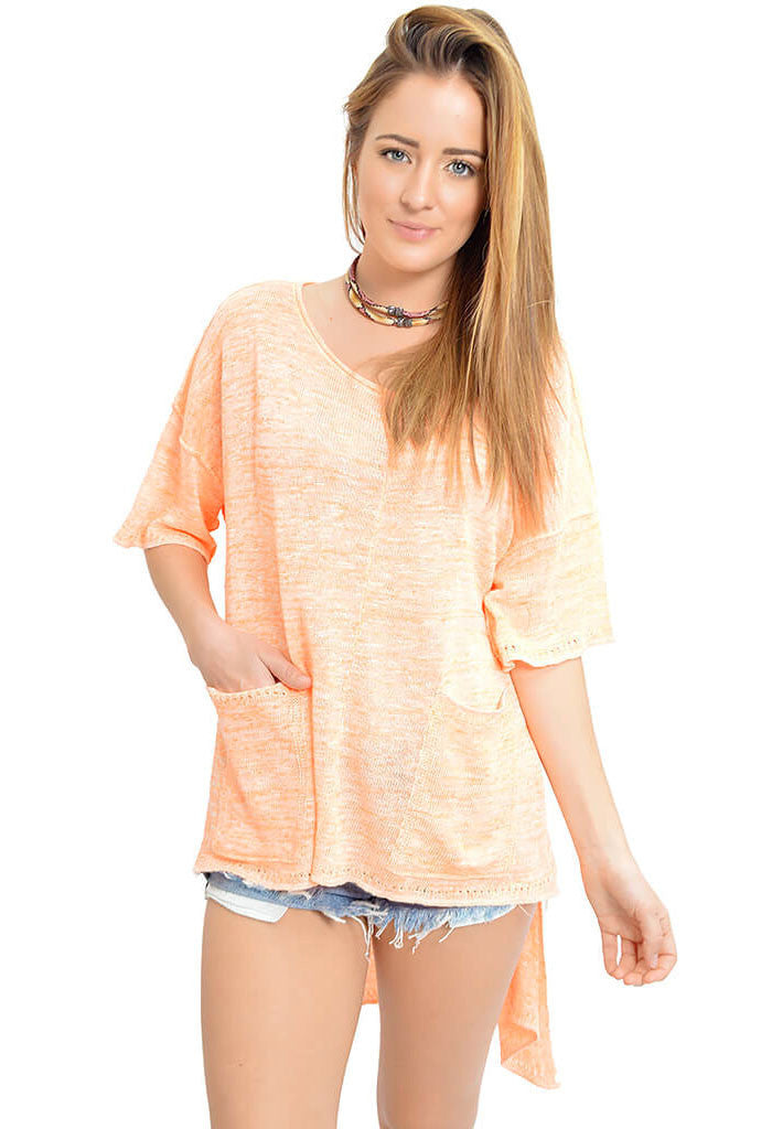Free People Light Bright Orange Sweater-front