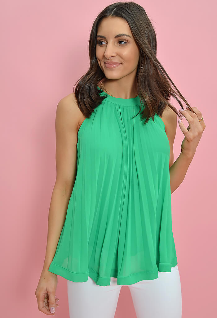 THML Pleated Pop Top-Green