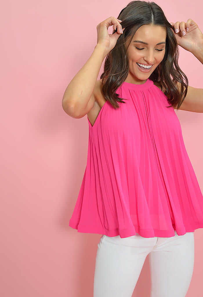 THML Pleated Pop Top-Fuchsia