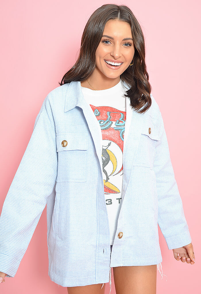 KK Bloom Baby Blues Gingham Shacket