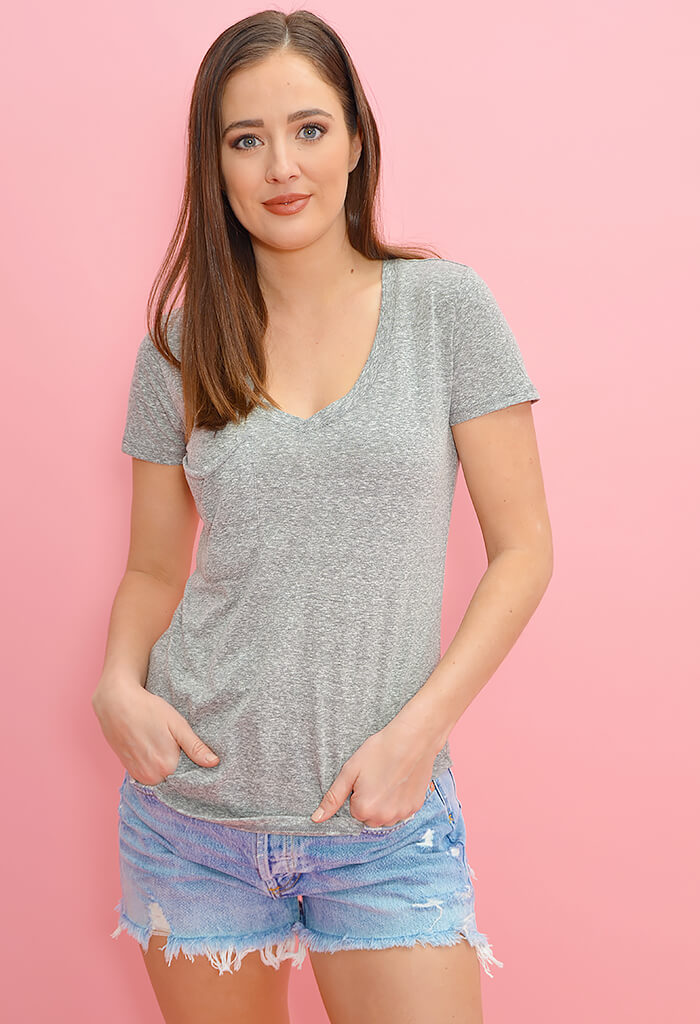 The Triblend Pocket Tee-Heather Grey