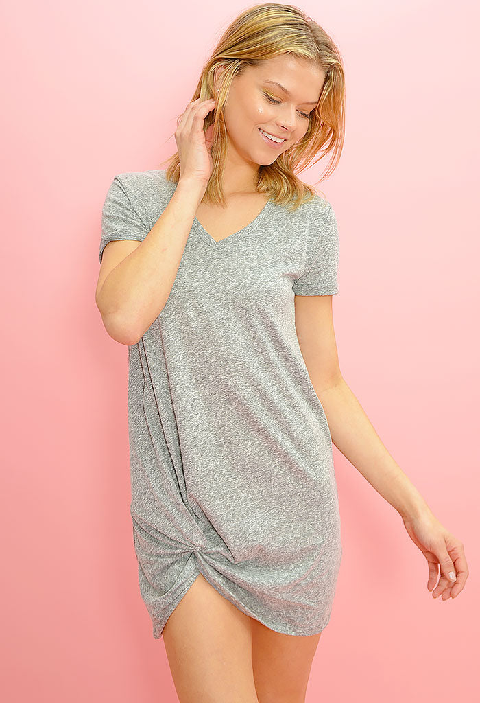 The Triblend Side Knot Dress-Heather Grey