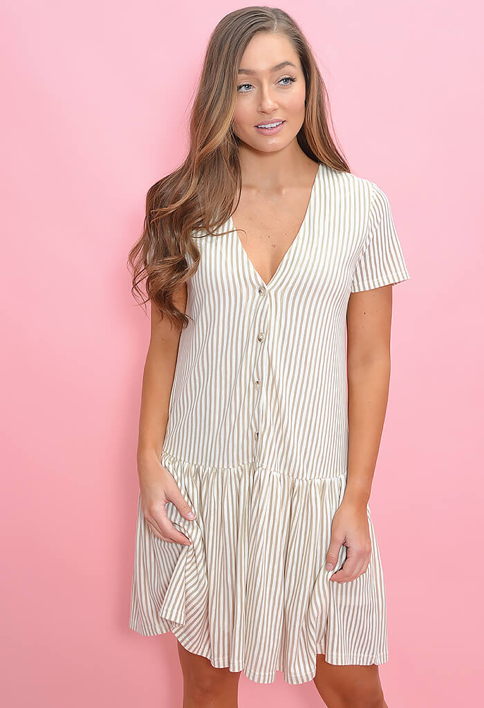 Drop Waist Mini Dress - White