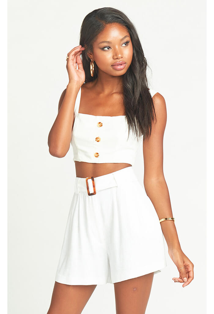 Adeline Crop Top ~ White Linen