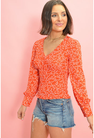Portia Blouse-Red Hot