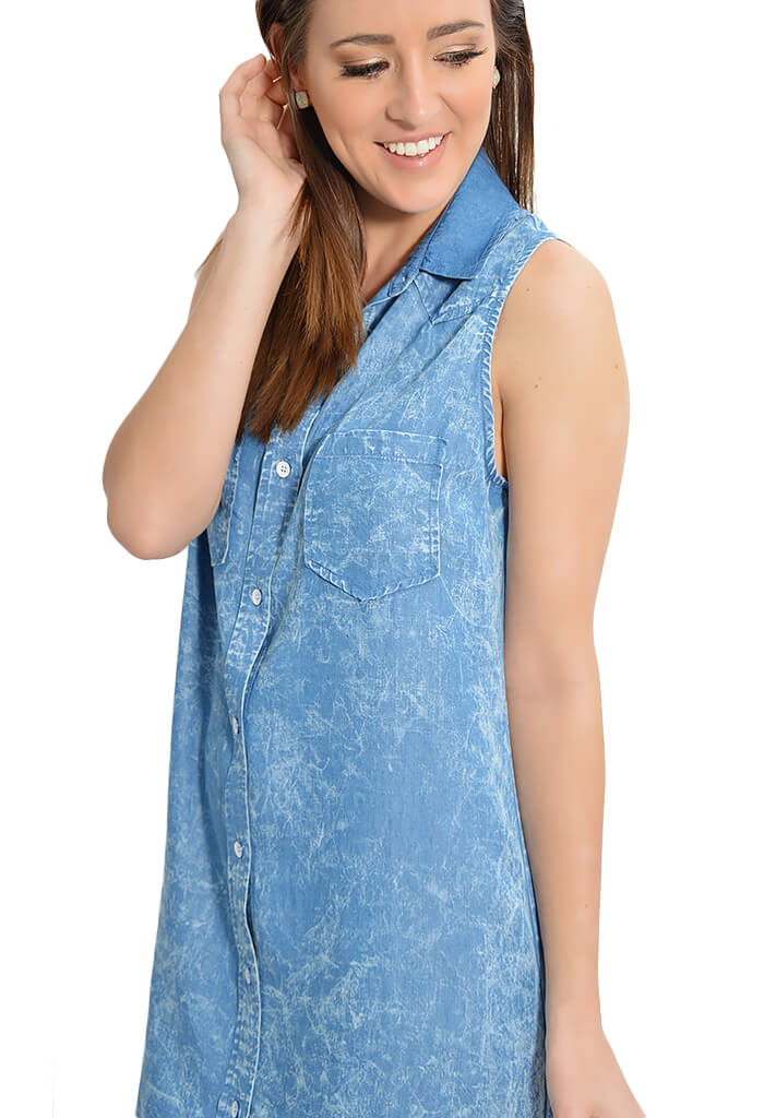Distressed Sleeveless Shirtdress