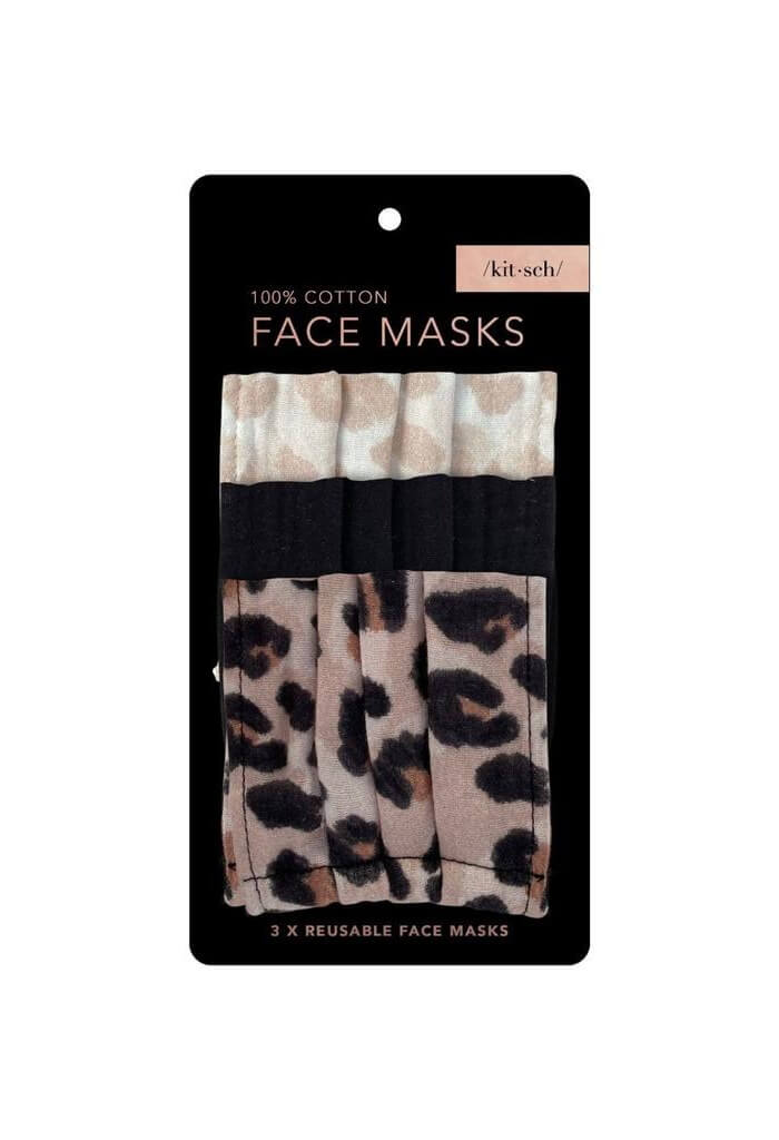 Kitsch Cotton Mask 3 Piece Set-Leopard