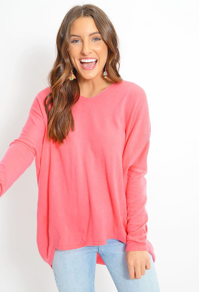 Coral Punch Knit Top