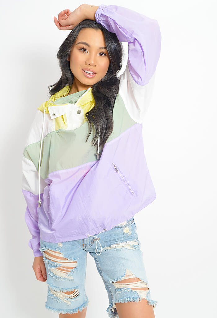 Sawyer Windbreaker-Pastel Colorblock
