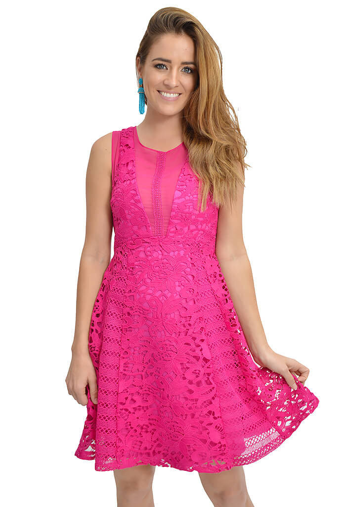 Adelyn Rae Crocheted Pink lace Loretta Dress-front