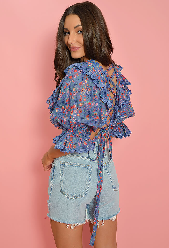 KK Bloom Baby Blooms Lace Up Blouse