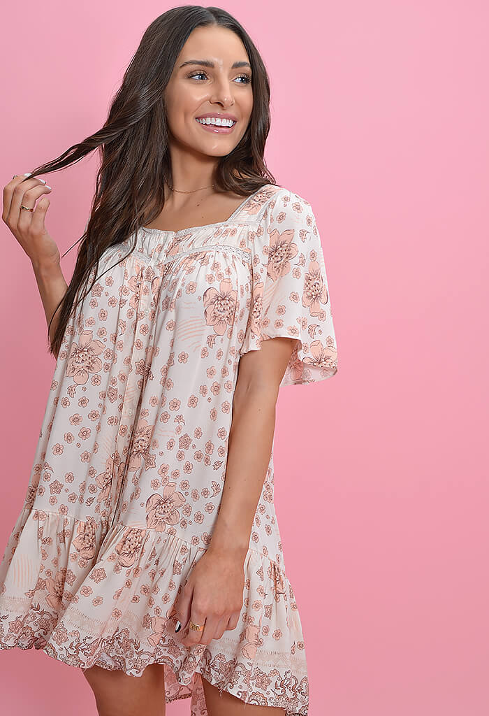 KK Bloom Blush Peonies Babydoll Dress
