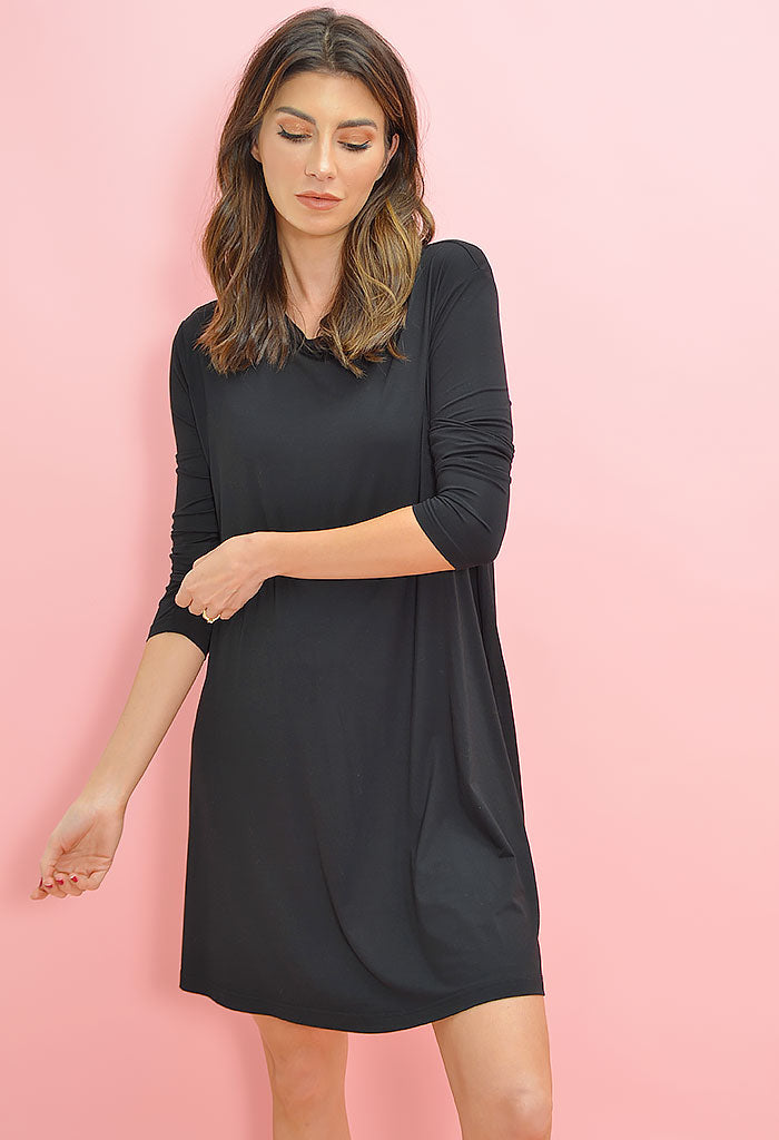 Piko Swing Dress-Black