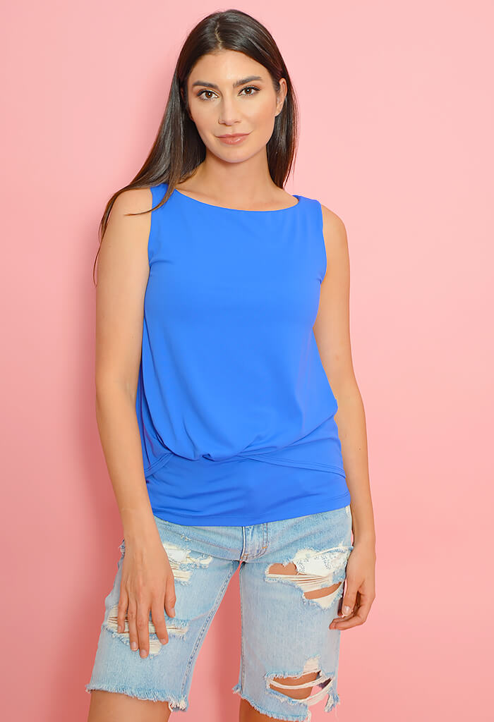 Sleeveless Front Tuck Overlay Top