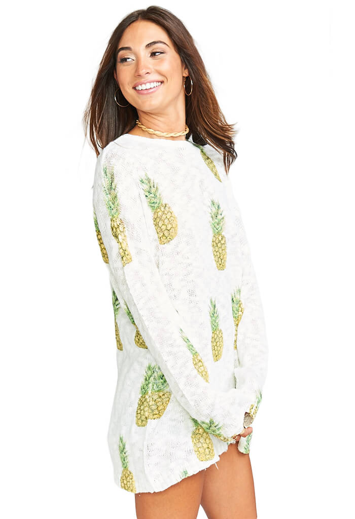 Varsity Sweater - Pineapple Paradise Knit