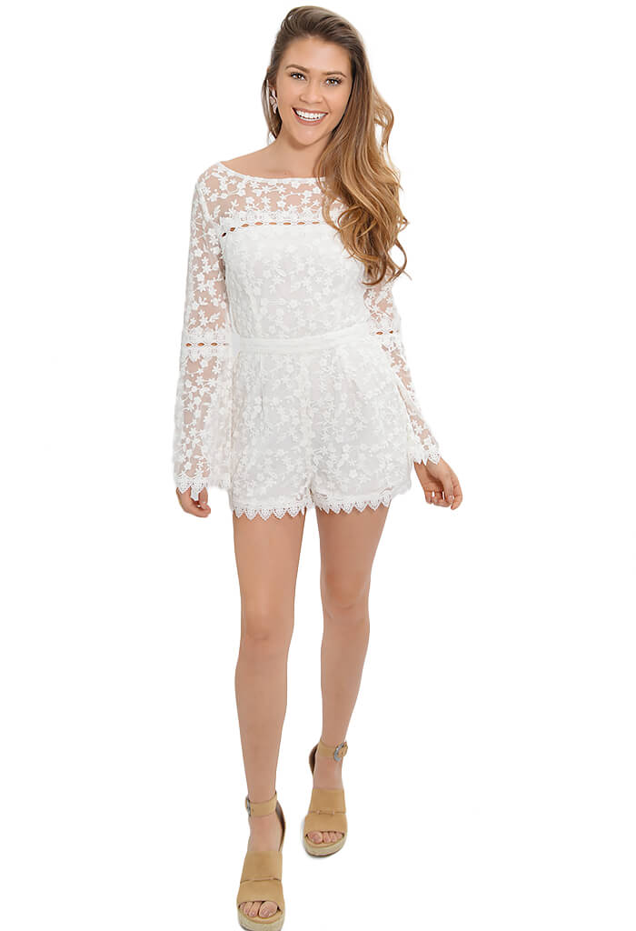 BB Dakota White Lace Betsy Romper