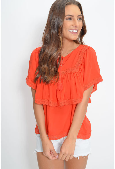 Romantic Feelings Top-Poppy Red