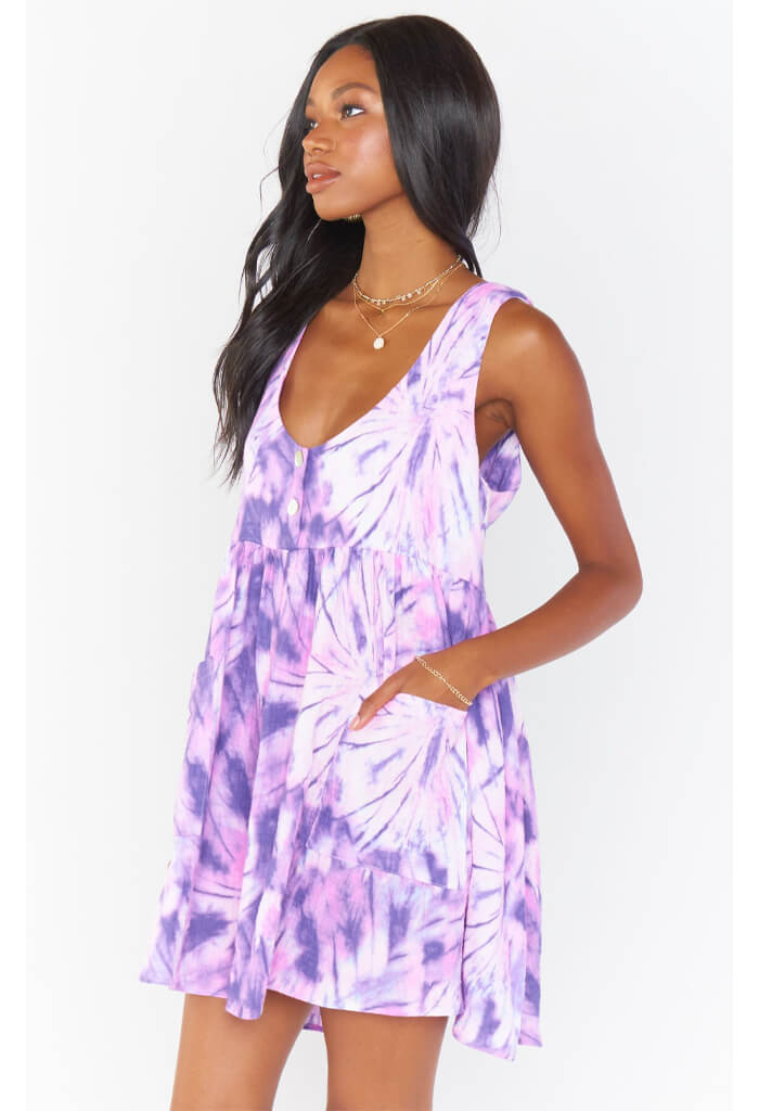 Show Me Your Mumu Weekend Mini Dress-Purple Tie Dye