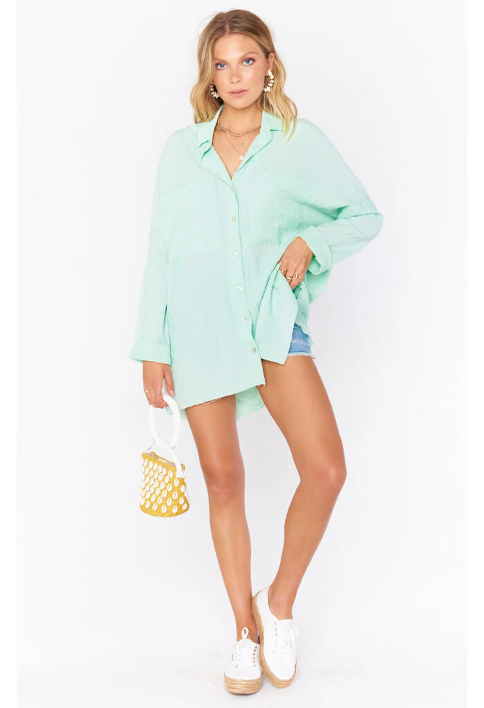 Show Me Your Mumu Johns Button Down Shirt-Green Melon