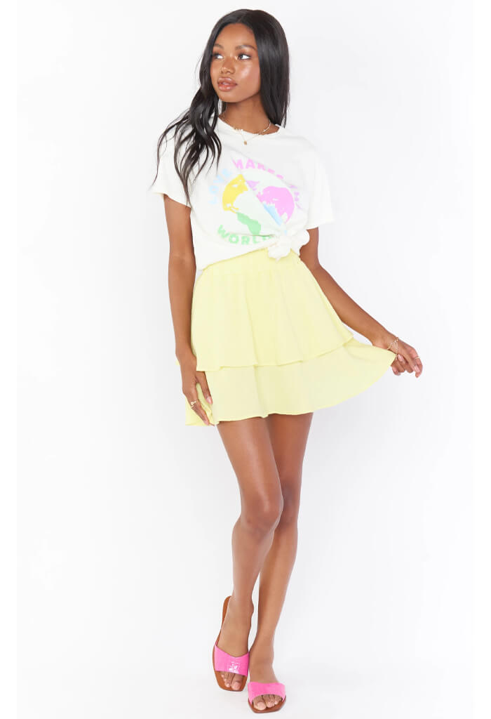 Show Me Your Mumu Aiden Mini Skirt-Lemon