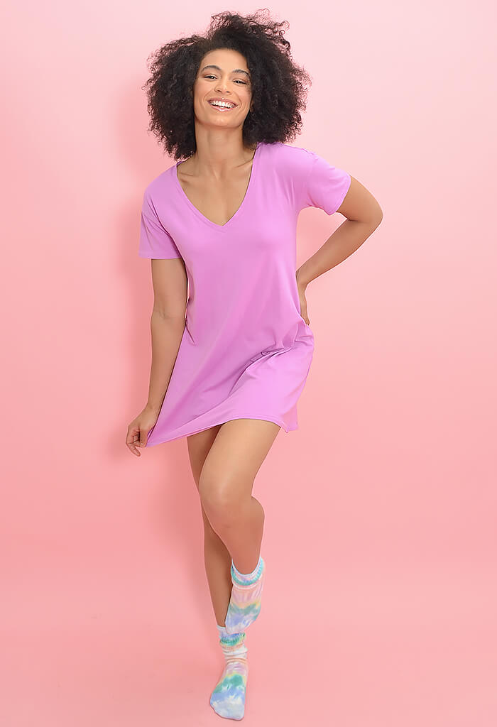 Z Supply Birdie Organic Mini Dress-Violet