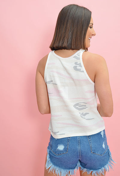 The Thermal Camo Skimmer Tank-Rosewater