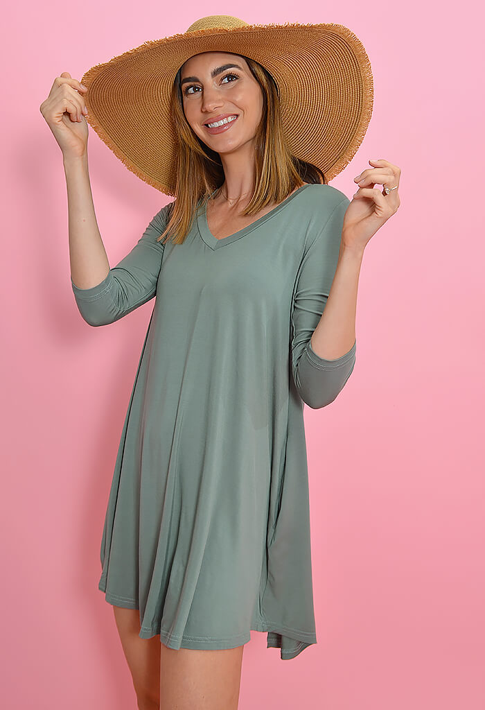 KK Bloom Sarah Tee Dress in Olive