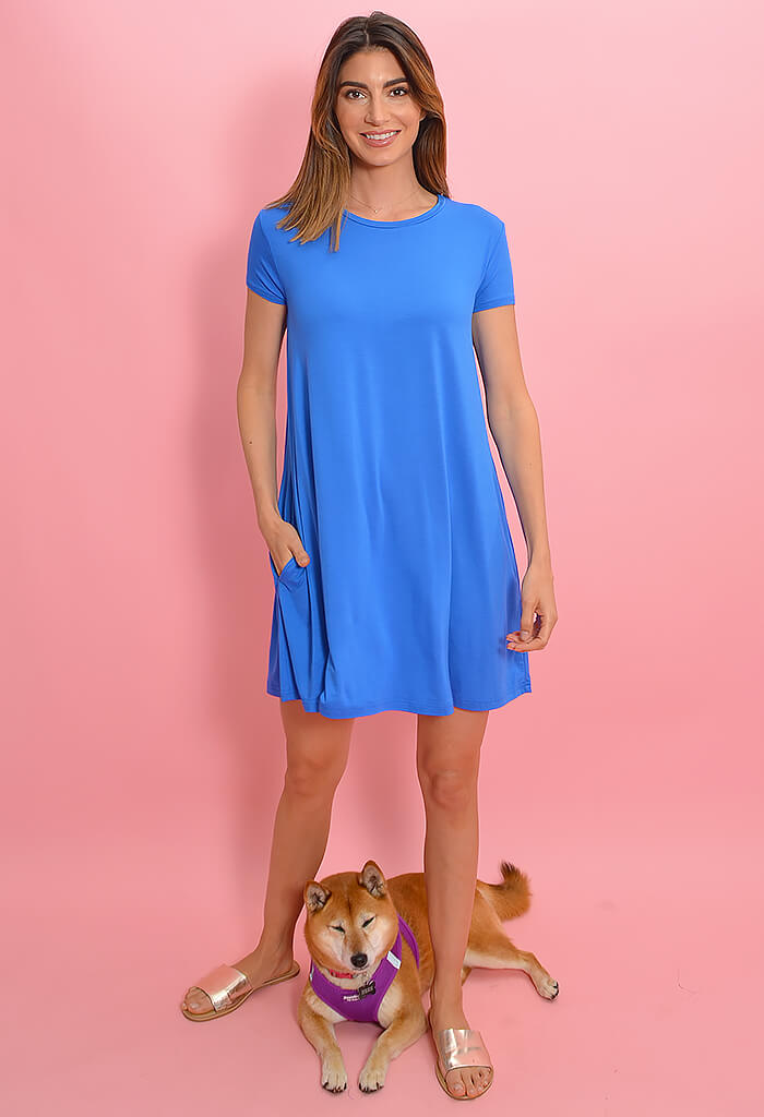 KK Bloom Cobalt Blue Piko Dress