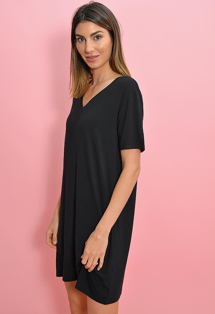 KK Bloom Black Piko Dress