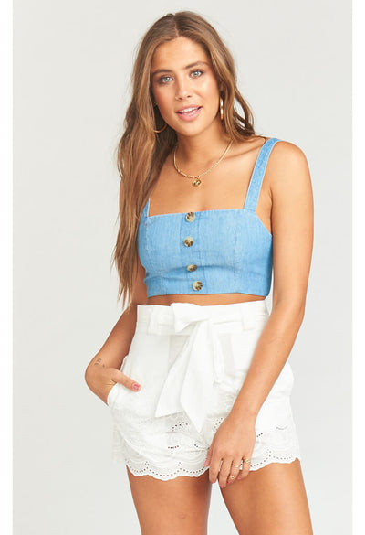 Adeline Crop Top-Anchor Chambray