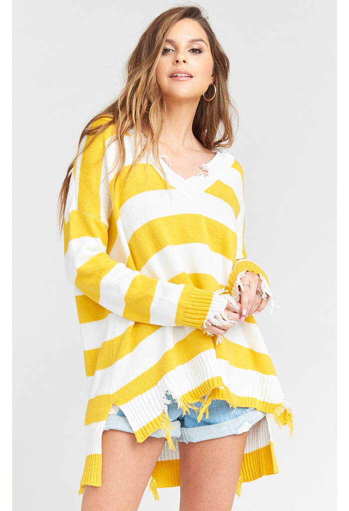Delphina Distressed Sweater-Yellow Rugby Stripe