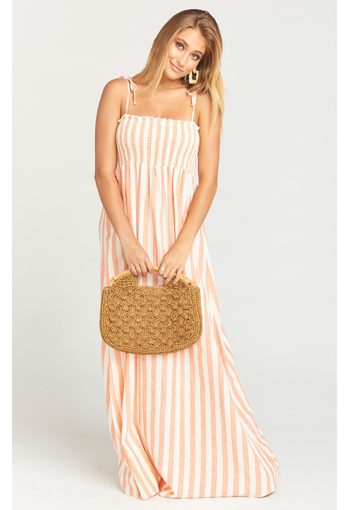Maggie Maxi Dress-Dreamsicle Stripe Linen