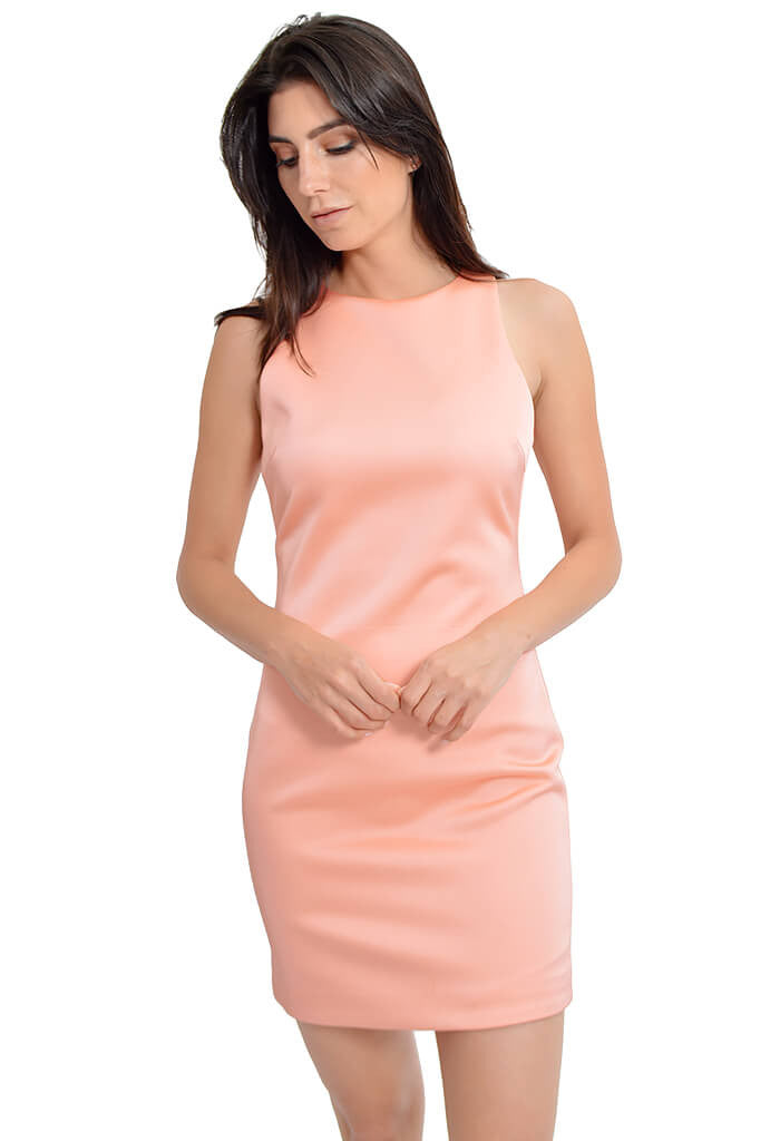 Sugar Lips Fitted Silk Satin Dress-front