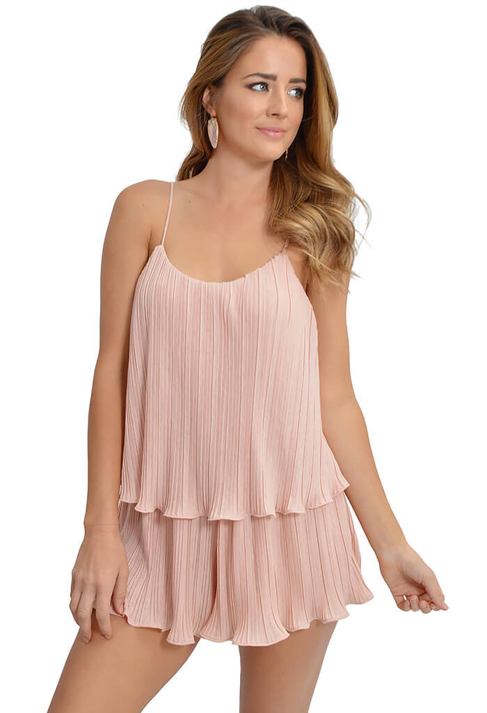 NBD Pleated Blush Romper-front