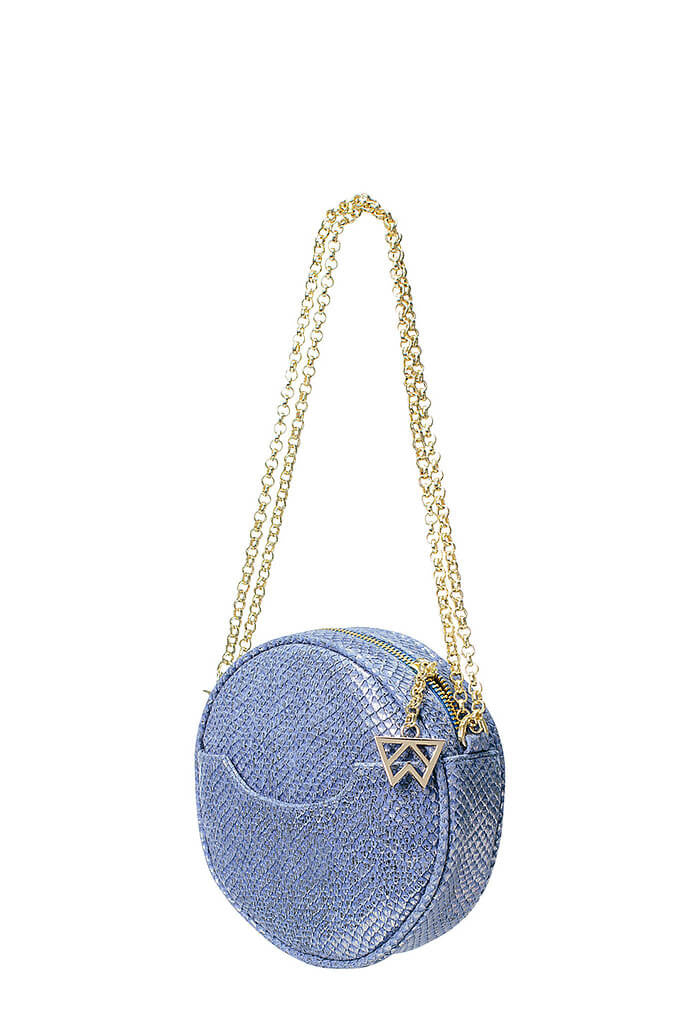 Kelly Wynne Halo Bag in Blue Looking Glass-front