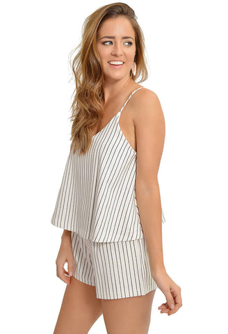 Lyric Romper - Mauve Stripe