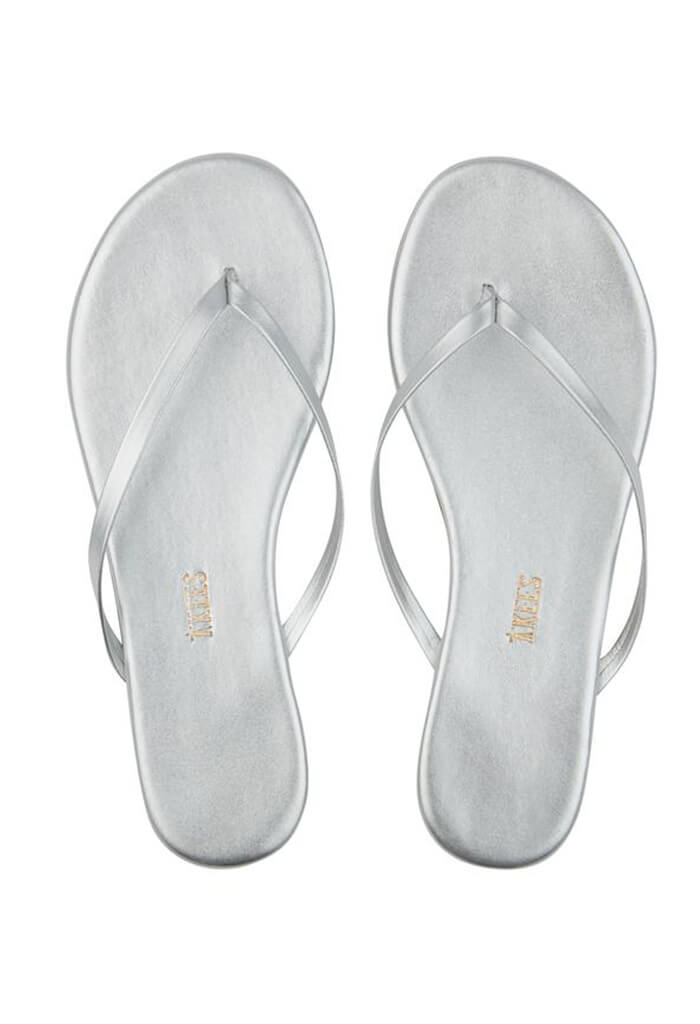 Metallic Leather Flip Flops-Fairylust
