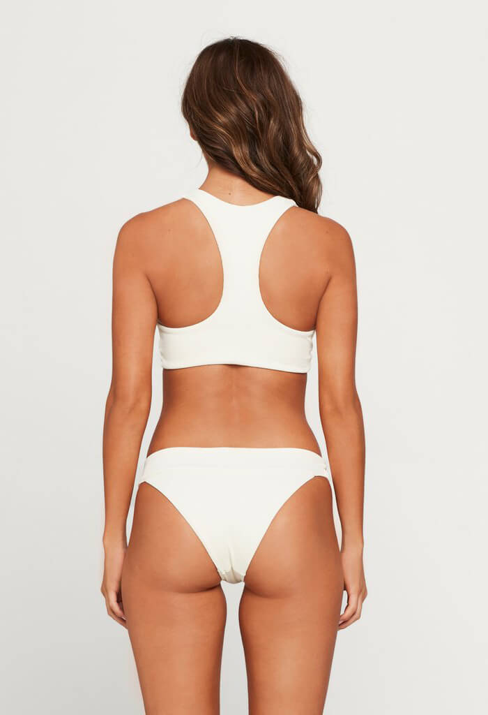 Ribbed Tara Bikini Top-Cream