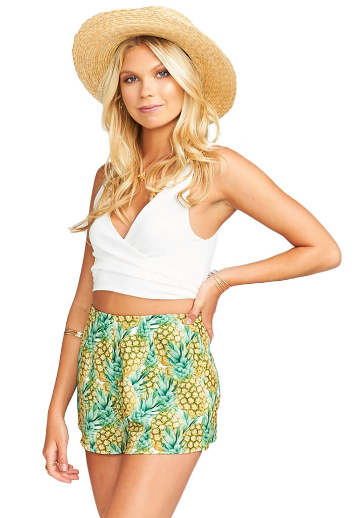 Show Me Your Mumu Conga Wrap Top ~ White Crinkle Stretch