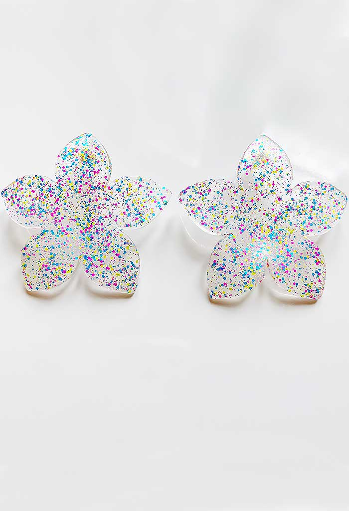 Speckled Blossom Studs-Neon