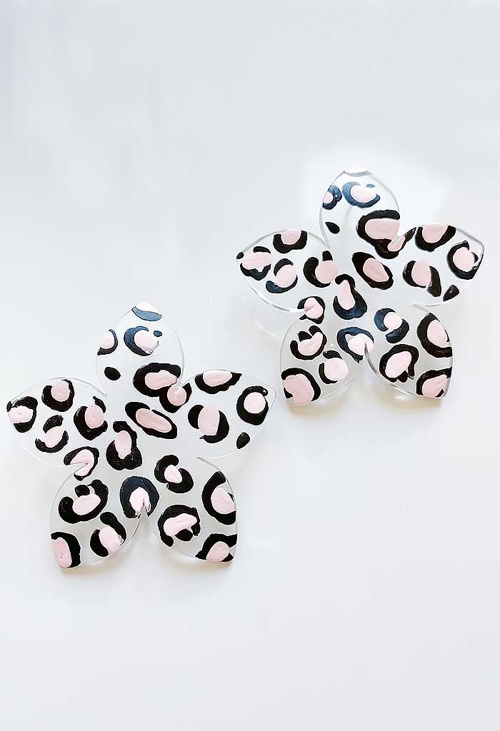 Leopard Blossom Studs-Pink