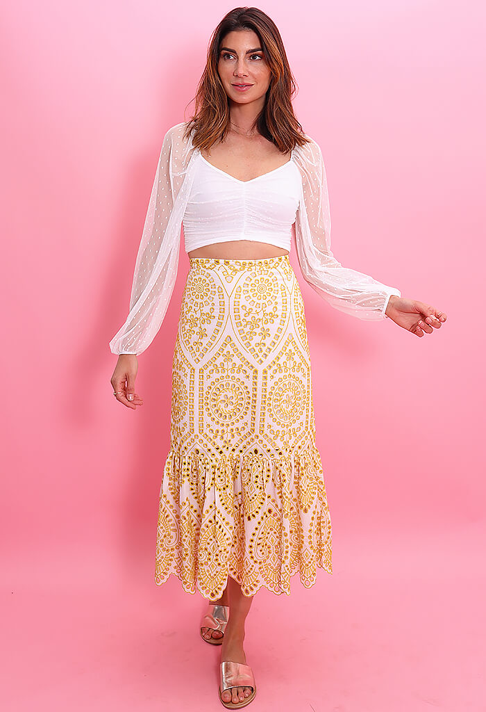 Minkpink Whilma Tiered Midi Skirt