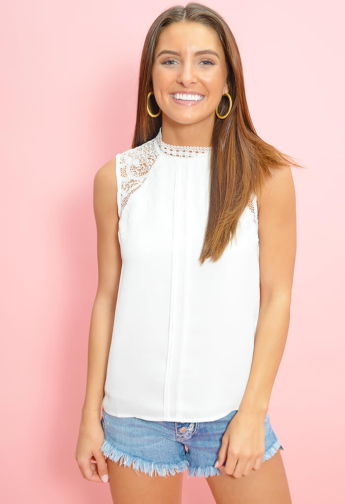 City Proper Lace Top-Ivory