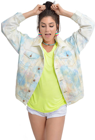 Tie Dye Denim Trucker Jacket