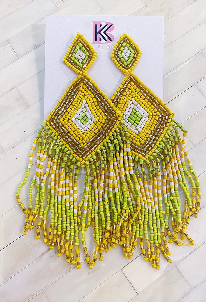 KK Bloom Crystal Chandelier Earrings-Yellow