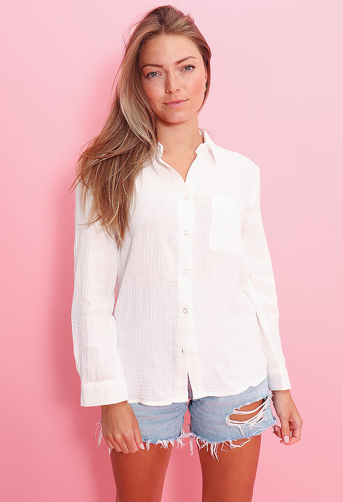 Elan Seaglass Blouse-White