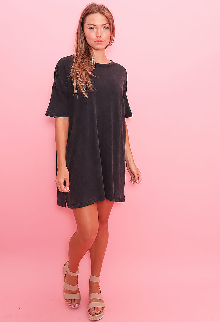 Z Supply Delta Slub T-Shirt Dress-Washed Black