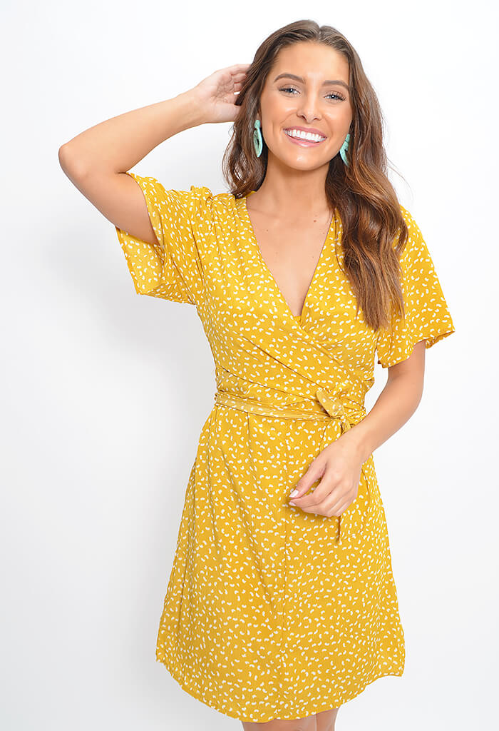 Chia Wrap Dress-Mustard