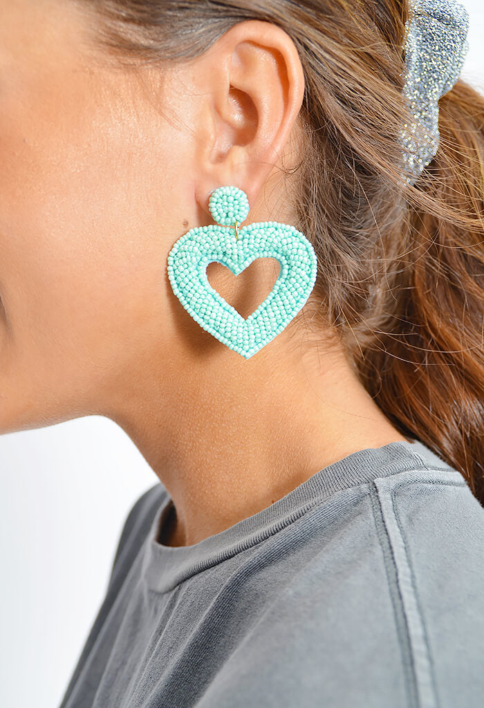 Teal Heart Earrings